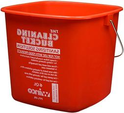 Winco PPL-6R Cleaning Bucket, 6-Quart, Red Sanitizing Soluti