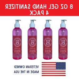Hand Sanitizer With Pump   4 Pack of 8oz Bottles   75% Alcoh